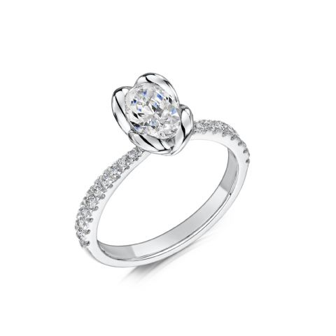 0.6 Carat GIA GVS Diamond solitaire 18ct White Gold. Oval diamond Engagement Ring, MWSS-1181/040